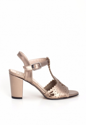 Bakır Desenli Önden Baretli Bayan Topuklu Ayakkabı