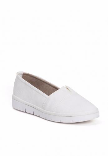Beyaz Lastikli Bayan Babet Ayakkabı
