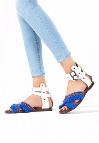 Beyaz Mavi Püsküllü Bayan Sandalet Ayakkabı