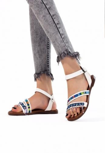 Beyaz Renk İnce Boncuklu Bayan Sandalet Ayakkabı