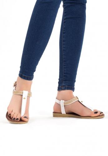 Beyaz Rugan Taşlı Bayan Sandalet Ayakkabı