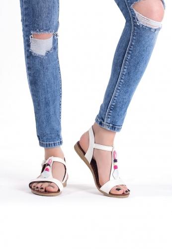 Beyaz Taşlı Bayan Sandalet Ayakkabı