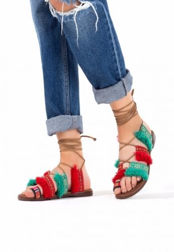 Bilekten Bağlamalı İşlemeli Bayan Sandalet Ayakkabı