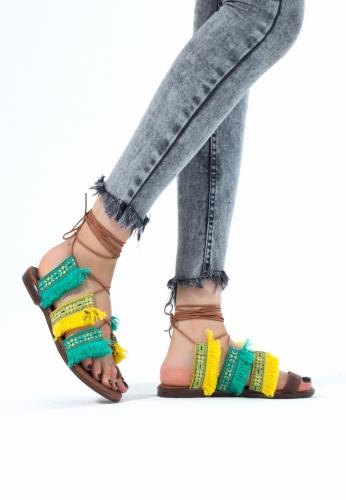 Bilekten Bağlamalı Renkli Bayan Sandalet Ayakkabı