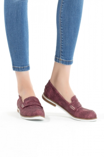 Bordo Bayan Babet Ayakkabı