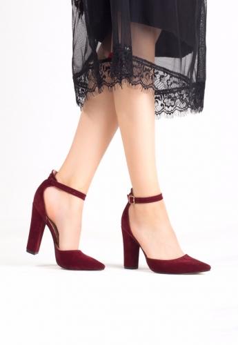 Bordo Bayan Süet Bilekten Kemerli Topuklu Ayakkabı