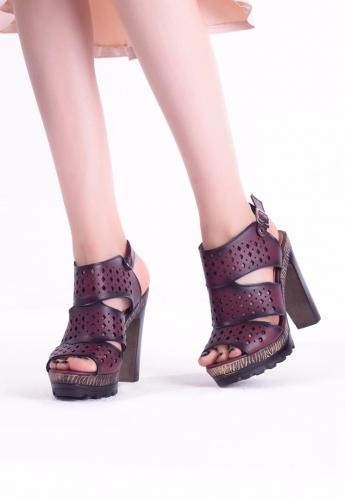 Bordo Desenli Bayan platform Topuk Ayakkabı