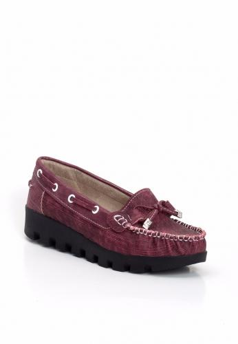 Bordo Desenli Kalın Topuk Bayan Ayakkabı
