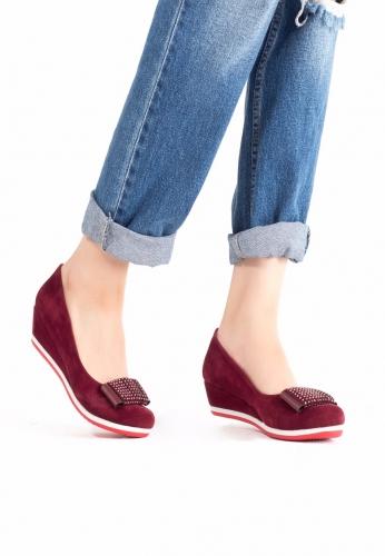 Bordo Dolgu Topuk Ayakkabı
