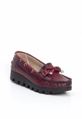 Bordo Kalın Topuk Bayan Ayakkabı