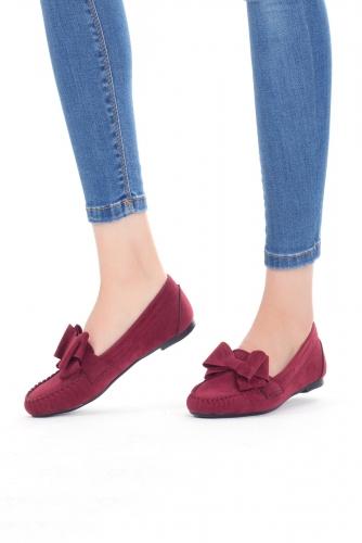 Bordo Kurdelalı Süet Bayan Babet Ayakkabı