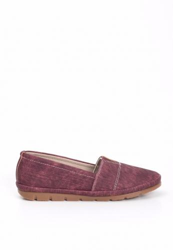 Bordo Lastikli Bayan Babet Ayakkabı