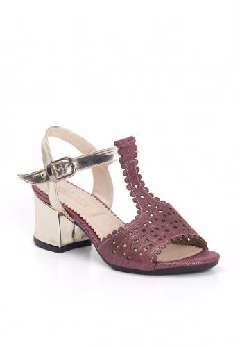 Bordo Lazerli Gold Kemerli Bayan Kısa Topuk Ayakkabı