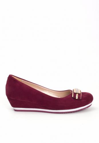 Bordo Süet Dolgu Topuk Ayakkabı