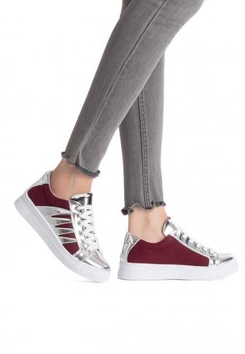 Bordo Süet Gümüş Rugan Detaylı Bayan Spor Ayakkabı