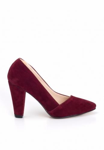 Bordo Süet Yan Kesim Bayan Kalın Topuklu Ayakkabı