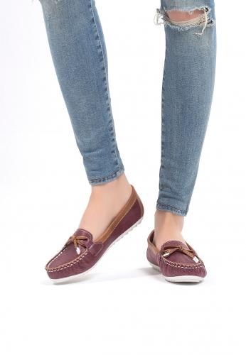 Bordo Taba Renk Fiyonklu Bayan Babet Ayakkabı