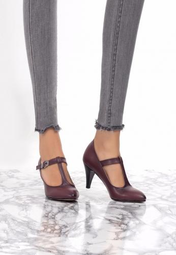 Bordo Yandan Tokalı Ayakkabı