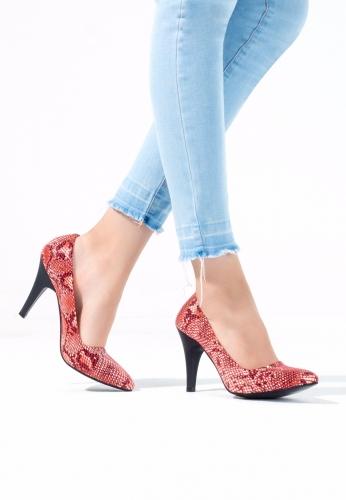 Bordo Yılan Derisi Desenli Bayan Topuklu Ayakkabı