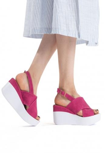 Fuşya Bayan Dolgu Topuk Sandalet Ayakkabı