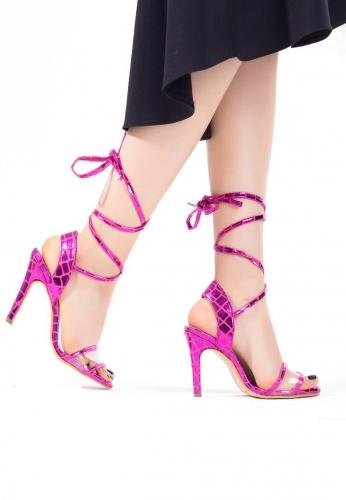 Fuşya Desenli Bağlamalı Bayan Stiletto Ayakkabı
