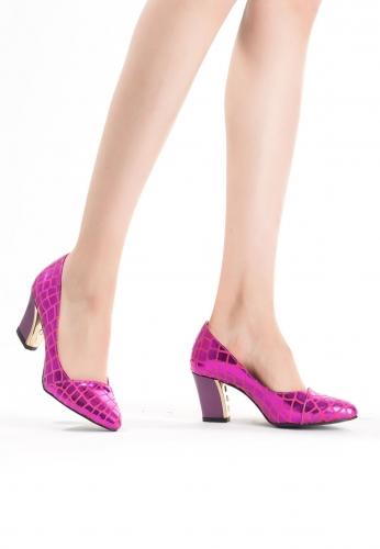 Fuşya Desenli Bayan Kısa Topuk Ayakkabı