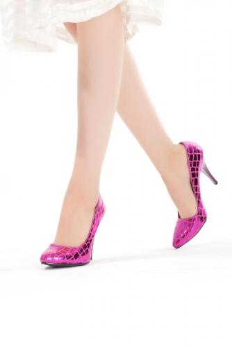Fuşya Desenli Bayan Stiletto Ayakkabı
