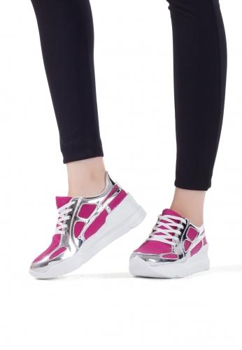 Fuşya Gümüş Bayan Spor Ayakkabı