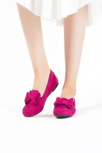 Fuşya Kurdelalı Süet Bayan Babet Ayakkabı