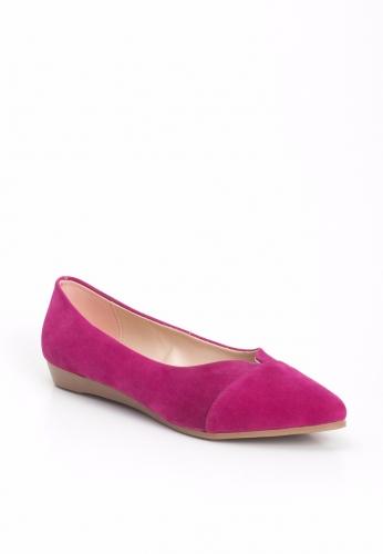 Fuşya Renk Süet Bayan Babet Ayakkabı