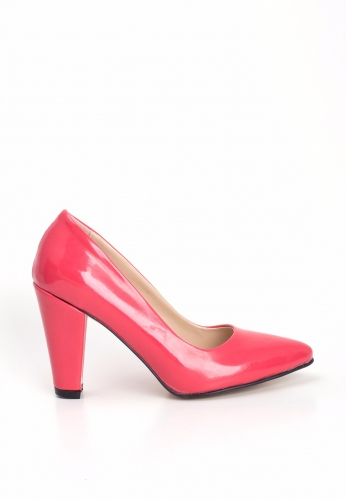 Fuşya Rugan Bayan Kalın Topuklu Ayakkabı