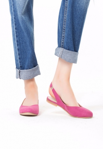 Fuşya Süet Bayan Babet Ayakkabı