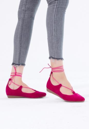 Fuşya Süet Bilekten Bağlı Bayan Babet Ayakkabı