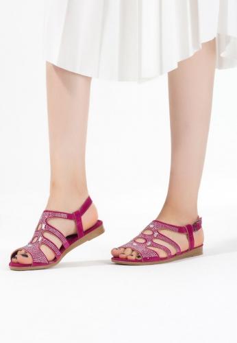 Fuşya Süet Taşlı Bayan Sandalet Ayakkabı