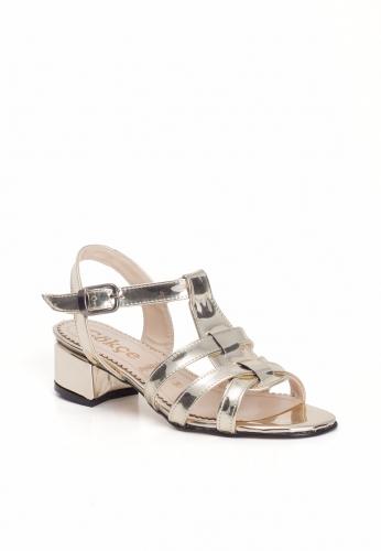 Gold Bilekten Kemerli Bayan Küt Topuk Ayakkabı