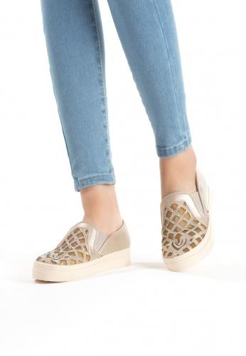 Gold Boncuk Desenli Bayan Spor Babet Ayakkabı