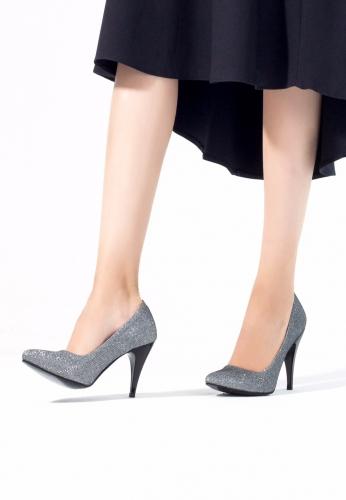 Gri Simli Bayan Topuklu Ayakkabı