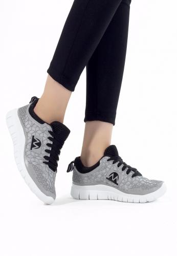 Gri Siyah Desenli Bayan Spor Ayakkabı