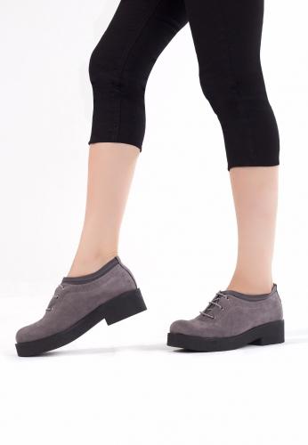 Gri Süet Bağcıklı Bayan Oxford Ayakkabı