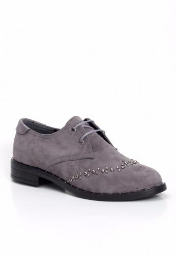 Gri Süet Zımbalı Bayan Oxford Ayakkabı