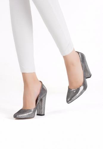 Gümüş Kalın Topuklu Ayakkabı