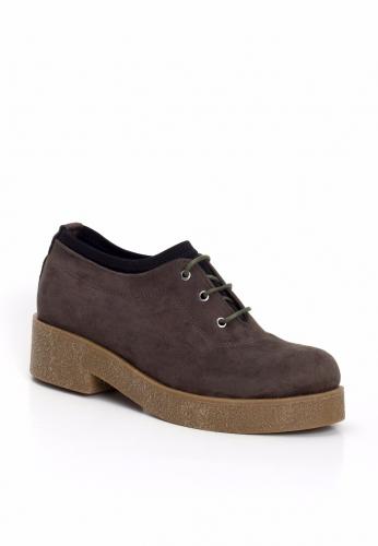 Haki Yeşil Süet Bağcıklı Bayan Oxford Ayakkabı
