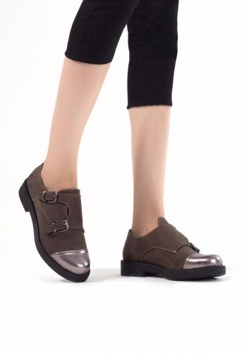 Haki Yeşil Süet Çift Tokalı Bayan Oxford Ayakkabı