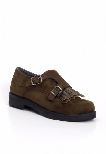 Haki Yeşil Süet Çift Tokalı Desenli Bayan Oxford Ayakkabı