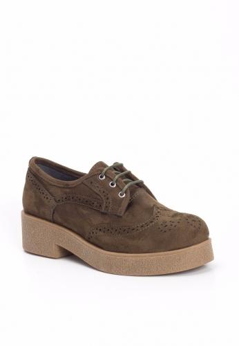 Haki Yeşil Süet Kalın Krem Taban Bayan Oxford Ayakkabı