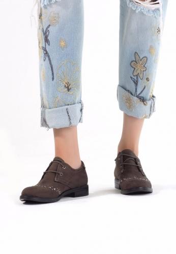 Haki Yeşil Süet Zımbalı Bayan Oxford Ayakkabı