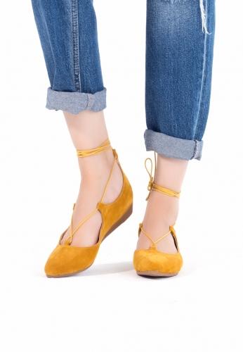 Hardal Sarısı İpli Bilekten Bağlı Bayan babet Ayakkabı