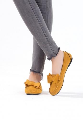 Hardal Sarısı Kurdelalı Süet Bayan Babet Ayakkabı