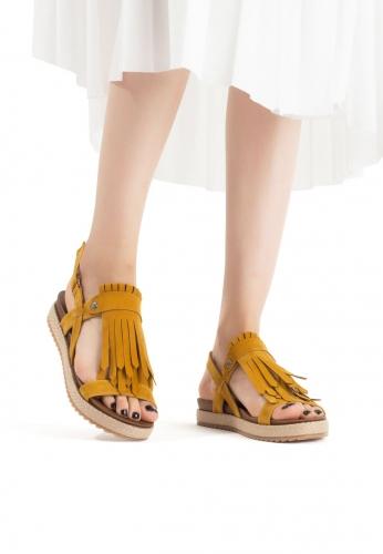 Hardal Sarısı Püsküllü Bayan Sandalet Ayakkabı