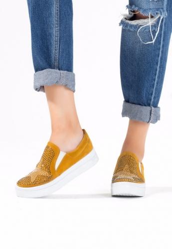 Hardal Sarısı Süet Yıldız Desenli Bayan Babet Ayakkabı